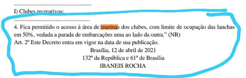 Novo decreto libera acesso às marinas dos clubes